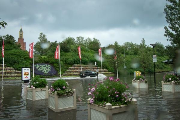 Översvämning vid Centralstationen efter störtregn.