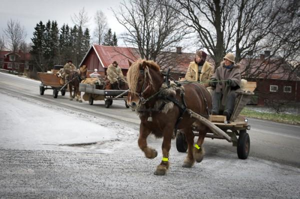 Forbönderna på väg mot Jamtli julmarknad